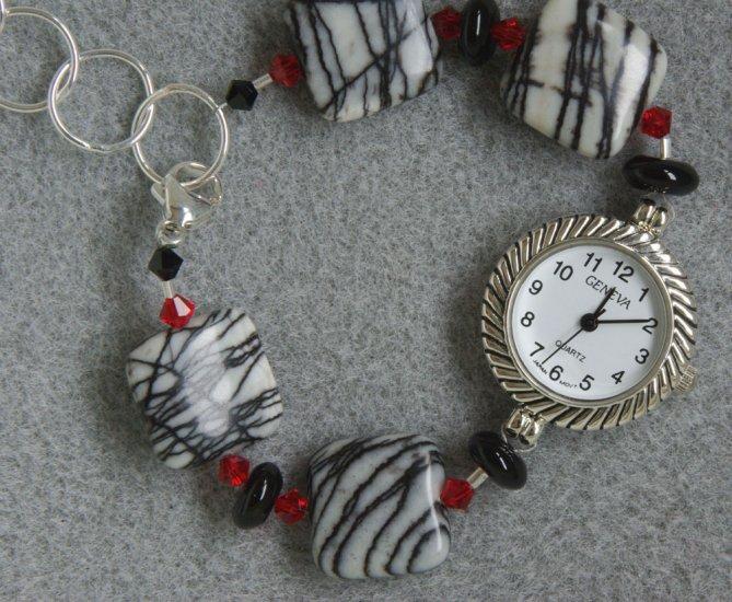 """Zebra Wore Red"" bracelet watch"