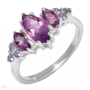 1.8 ctw Genuine Tanzanite and Amethyst Ring size 8
