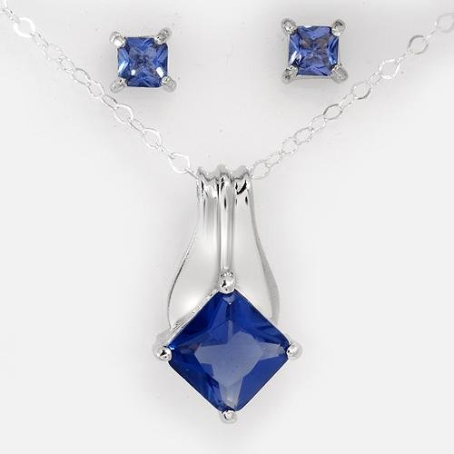 Stud Earrings and Necklace With Genuine Crystal 18 in