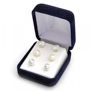 3pr Stylish Earrings Genuine Pearls and Topazes Sterling silver