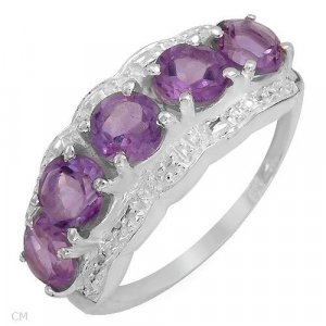 2.50ctw Genuine Amethysts & Sterling silver Ring Sz 7