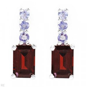1.48ctw Genuine Tanzanites & Garnets Sterling silver earrings