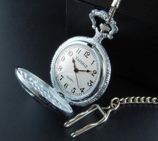 Train Head Pocket Watch with Chain.