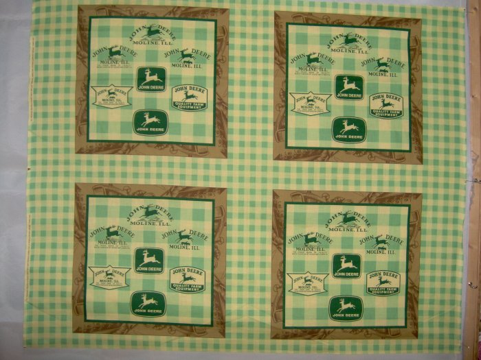 JOHN DEERE 6 Logo Pillow Squares or Quilt Blocks COTTON FABRIC PANELS LAST PIECES! 1 1/2 YDS TOTAL