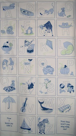 So Soft So Sweet Blue Alphabet Wall Hanging Panel or ABC Quilt Blocks Fabric Panel RJR LAST PANEL!