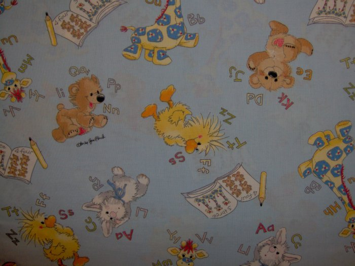 AE Nathan Little Suzy's Zoo ABC Alphabet 123 Numbers Character Toss on Blue Cotton Kids Fabric