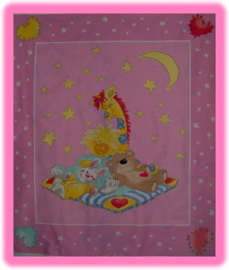 Little Suzy's Zoo Pink Quilt Top Wall Hanging Cotton Kids Fabric Panel