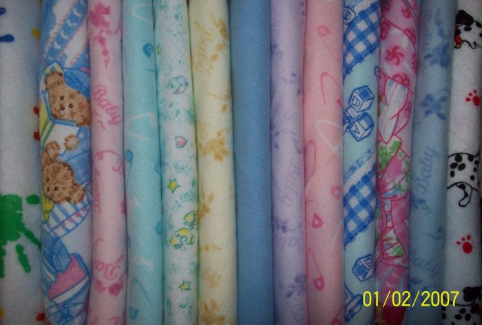 13 Fat Quarters Pink Blue Yellow Green Purple & Primary Baby Kids Flannel Fabric FQ Lot