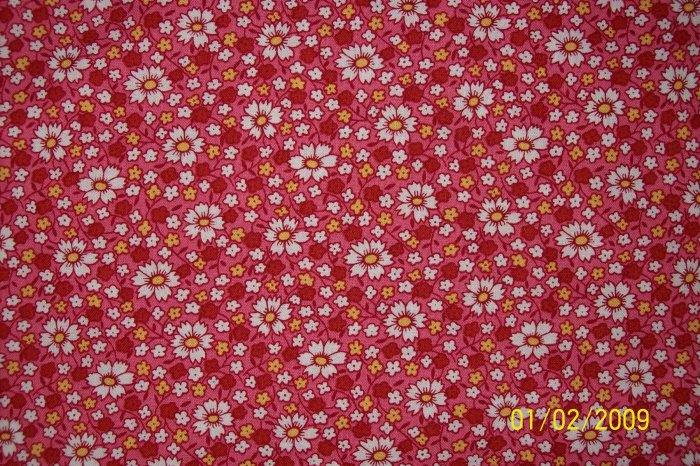 RJR Everything But the Kitchen Sink Daisies on Dark Pink Calico Flowers 1930s Repro Quilt Fabric