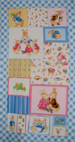 Beatrix Potter Peter Rabbit 2001 Primary Blocks Wall Hanging Fabric Panel