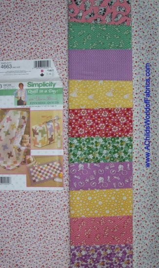 Quilt in a Day Eleanor Burns Pink Purple Pinwheel QIAD Kit w/ Backing Fabric RJR 30's Reproduction