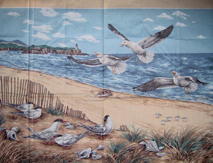 LAST PIECE! Cranston Print Works Shorebirds Collection Beach Wall Hanging Fabric Panel