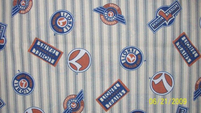 Lionel Train Logo Signs Emblems on Tan Grey Ticking Fabric Fat Eighth F8 F8th