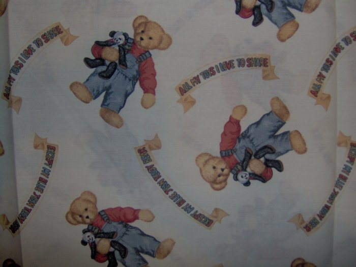 Blue Jean Teddy All My Toys . .Teddy Toss by Daisy Kingdom Kids Cotton Fabric 1 1/2 Yards