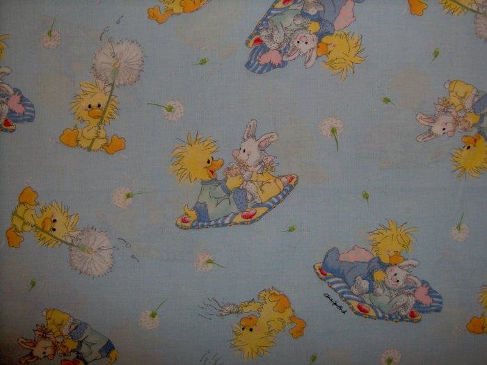 LAST ONE! Little Suzy's Zoo Character and Dandelion Toss on Blue KIDS COTTON FABRIC FAT QUARTER FQ