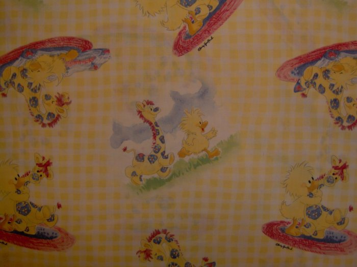LAST PIECE! Little Suzy's Zoo Witzy Patches on Yellow Gingham KIDS COTTON SEWING FABRIC