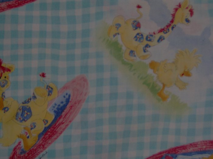 Little Suzy's Zoo Witzy Patches on Blue Gingham KIDS COTTON SEWING FABRIC FAT EIGHTH F8 F8TH