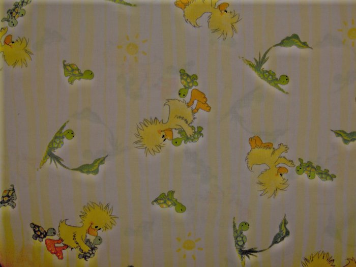 BOLT END! Little Suzy's Zoo Witzy Teter & Toter on Yellow Stripes KIDS COTTON FABRIC LAST PIECE