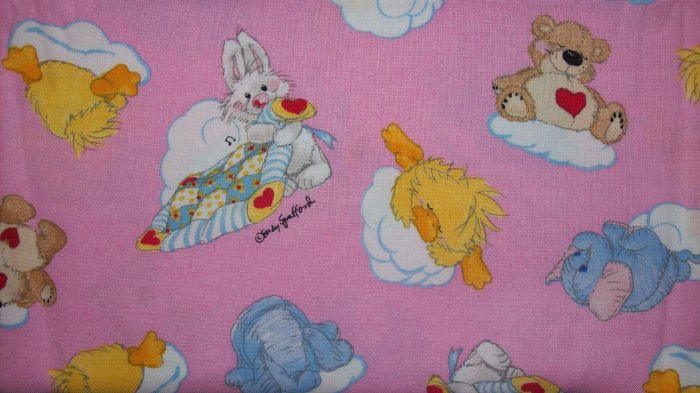 LAST 1! Little Suzy's Zoo Characters Sleeping on Clouds on Pink Kids Fabric Fat Quarter FQ