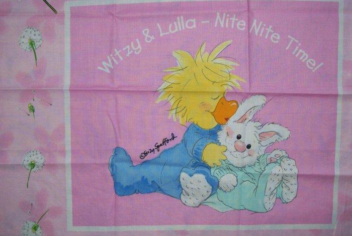Little Suzy's Zoo Pink Pillow Panel KIDS COTTON FABRIC FAT QUARTER FQ
