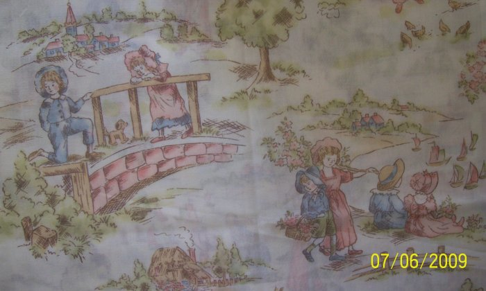 Holland Windmills Vintage Children Playing on Off White Background Cotton Fabric
