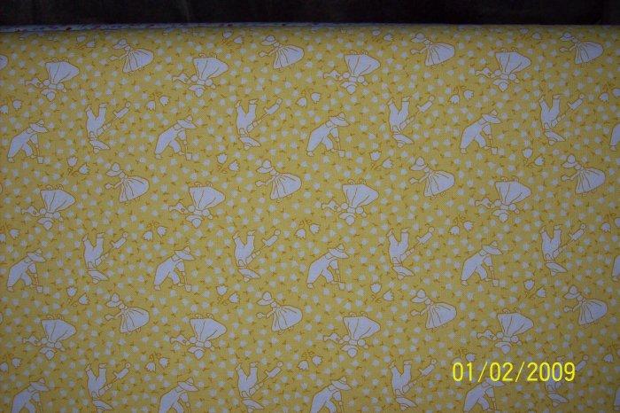 Sunbonnet Sue Overall Bill Gardening Toss on Yellow RJR Fabric Per 1/2 Yard