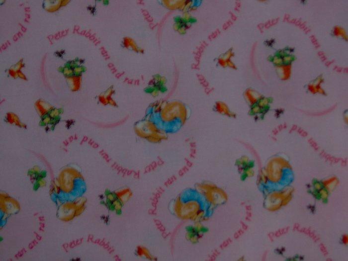 Beatrix Potter Pink Peter Rabbit Ran and Ran Kids Cotton Fabric OOP HTF