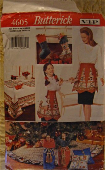 Butterick VIP Christmas Treasures Pattern 4605 Tree Skirt Apron Stocking Place mat Tablecloth