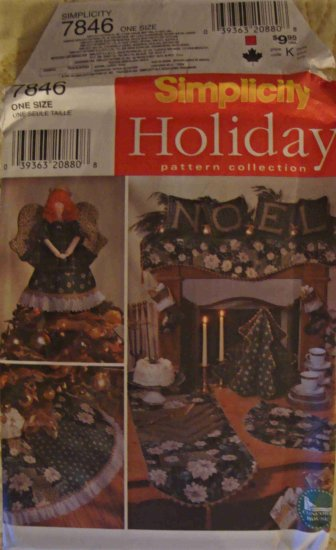 Simplicity Holiday Pattern Collection 7846 Angel Centerpiece Silverware Caddy Table Runner Napkin +