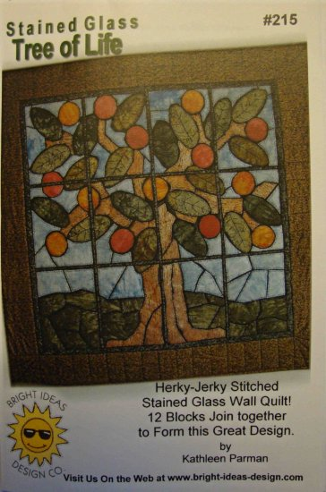 Tree of Life Stained Glass Wall Hanging Quilt Top Herky-Jerky Stitched Pattern 215 from Bright Ideas