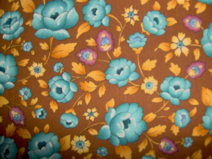 Little Quilts American Cottage by Peter Pan Teal Flowers on Brown Fabric Fat Quarter FQ