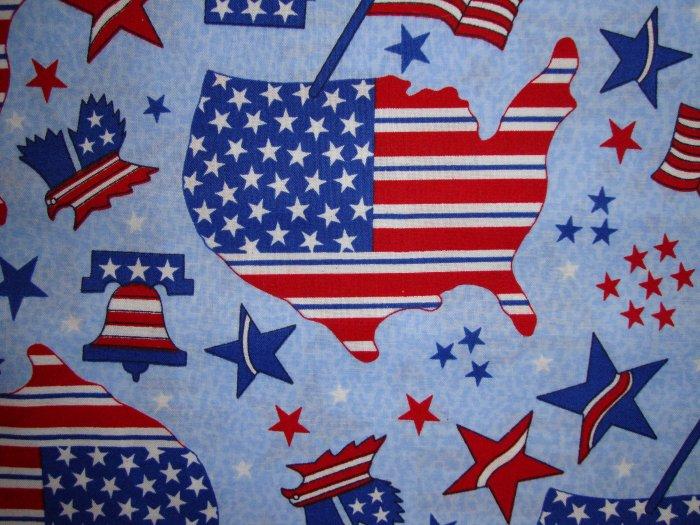 Americana Stars & Stripes Map Flag Bell on Blue Fabric by Oakhurst Textiles Fat Quarter FQ