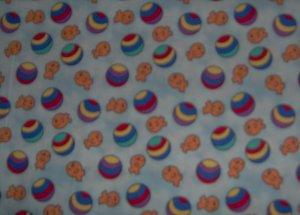 Beach Ball Goldfish Toss on Blue by Fabric Visions Fat Quarter FQ