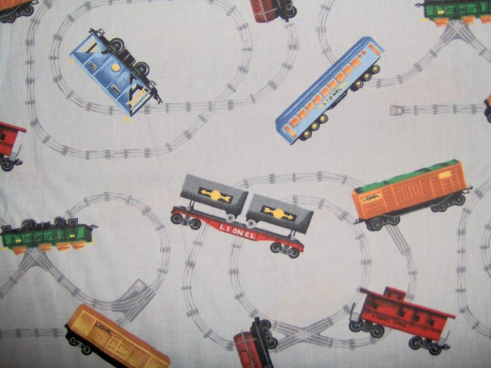 SALE! Lionel Train Trains on Tracks Grey Cotton Fabric Fat Quarter FQ