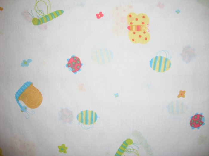 Friendly Bug Toss on White Fabric by Springs Fat Quarter FQ