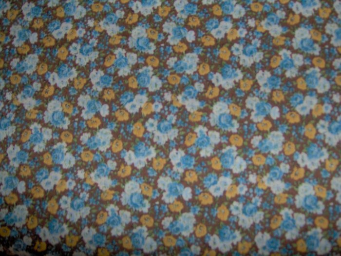 Blue Yellow White Flowers on Brown Cotton Fabric BTY By the Yard