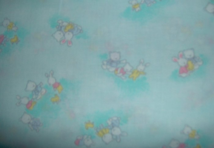 Bunny Bears Duck on Pastel Green Spring Fabric BTY By the Yard