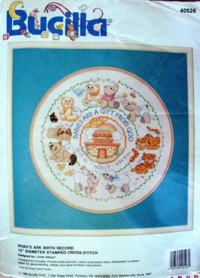 "VINTAGE Noah's Ark Baby Birth Record 12"" Round Cross-Stitch Kit Bucilla 40526"