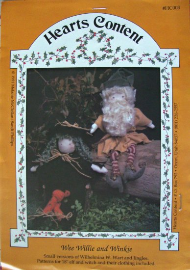 "Wee Willie and Winkie 18"" Elf & Witch Dolls Sewing Craft Pattern by Hearts Content"