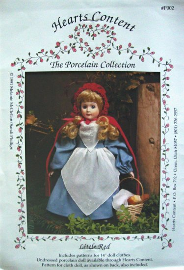 "Little Red Riding Hood 14"" Doll Clothes Sewing Pattern by Hearts Content The Porcelain Collection"