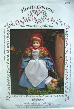 """Little Red Riding Hood 14"""" Doll Clothes Sewing Pattern by Hearts Content The Porcelain Collection"""