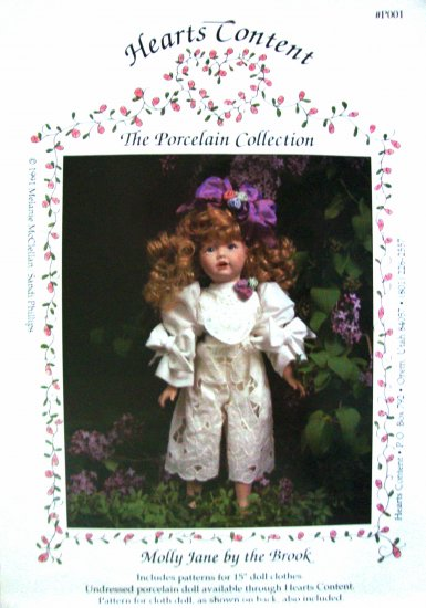 """Molly Jane by the Brook 15"""" Doll Clothes Sewing Pattern by Hearts Content Porcelain Collection"""