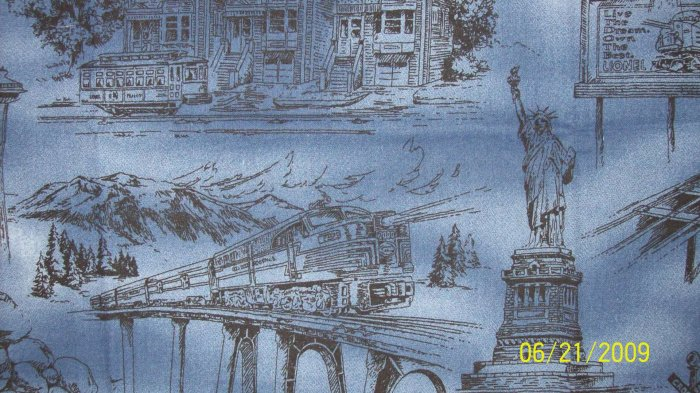 Lionel Trains Blue Toile Train Scenes Cotton Fabric Fat Eighth F8 F8th