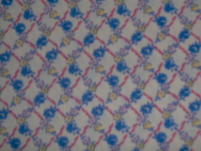 RJR Hooked on Hankies Blue Pink Yellow Flowers Lattice Fabric BTY By the Yard