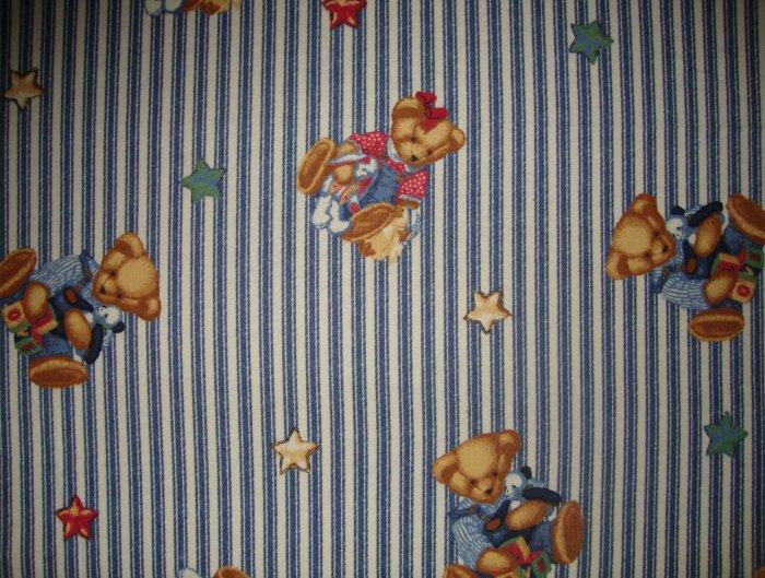Blue Jean Teddy Playmates on Ticking Cotton Flannel Fabric Fat Quarter FQ by Daisy Kingdom