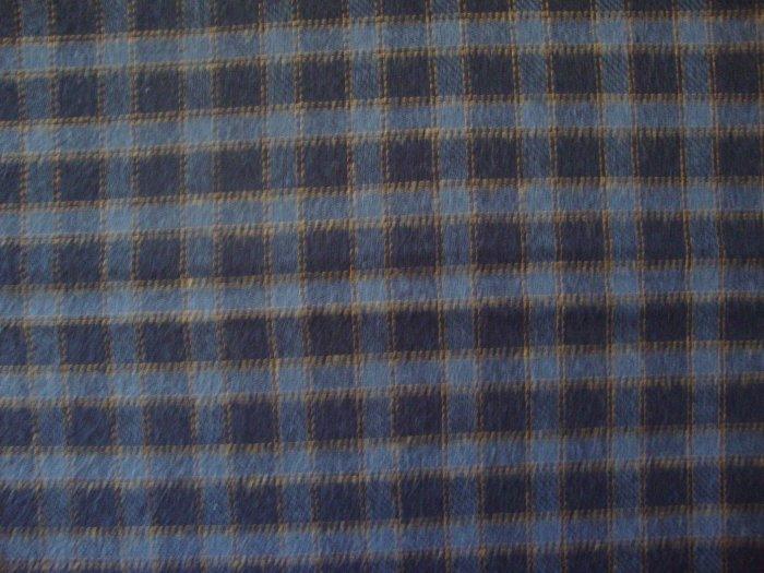 Blue & Gold Plaid Double Sided Cotton Homespun Flannel Fabric Fat Quarter FQ