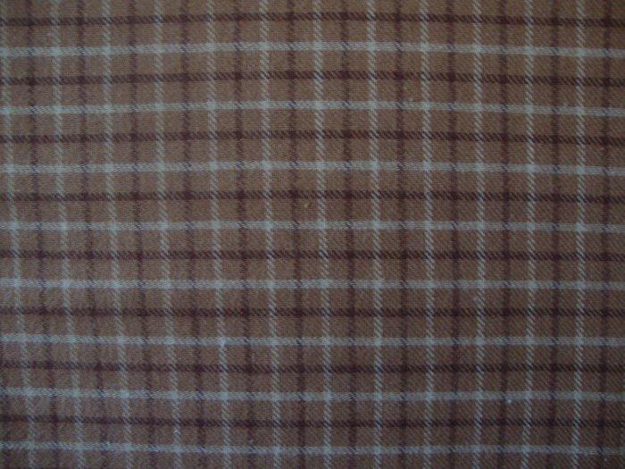 Tan & Brown Plaid Double Sided Cotton Homespun Flannel Fabric Fat Quarter FQ
