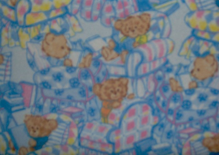 FQ Bedtime Story Teddy Bears on Blue Cotton Flannel Fabric Fat Quarter