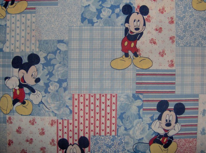 Disney Classic Mickey Mouse on Red White & Blue Patchwork Cotton Fabric Fat Quarter FQ
