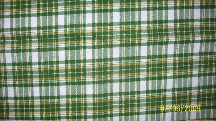 FQ JOHN DEERE TRACTORS Green Yellow White Plaid FABRIC FAT QUARTER